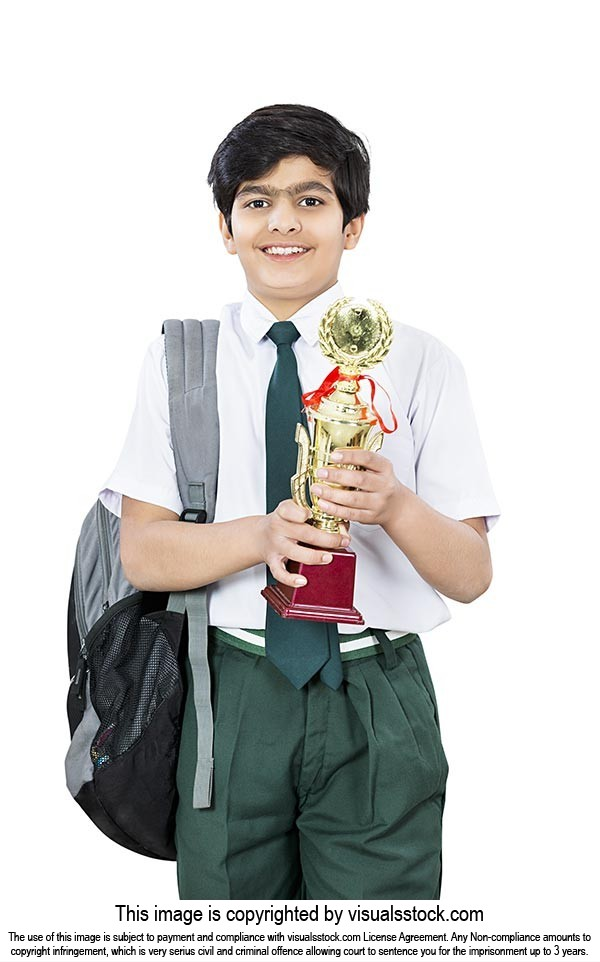 School Student Boy Competition Winning Trophy Show
