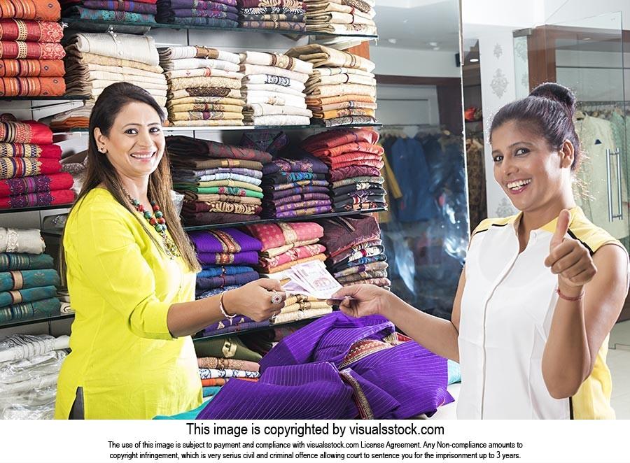 Shop Keeper Saleswoman Customer Bill Giving Money