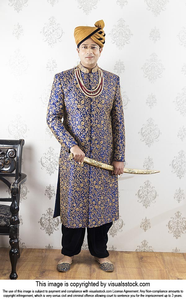 3283c6f12c Indian Groom Rajasthani Rajput Model Wearing Wedding Sherwani