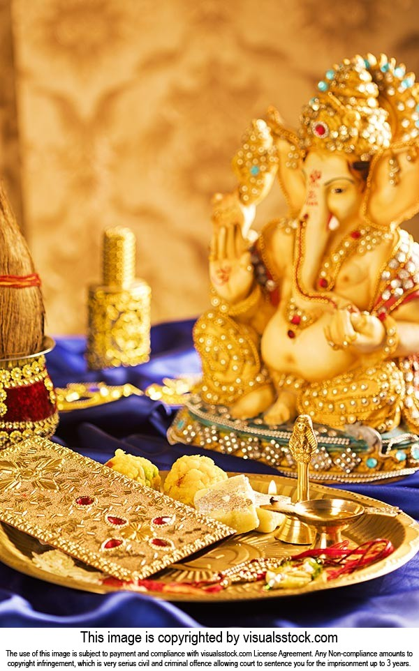 Indian Raksha Bandhan Festival God Worship Religio