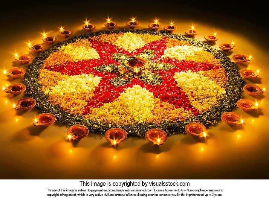 Deepavali Festival Lighting Diya Rangoli Design Ce