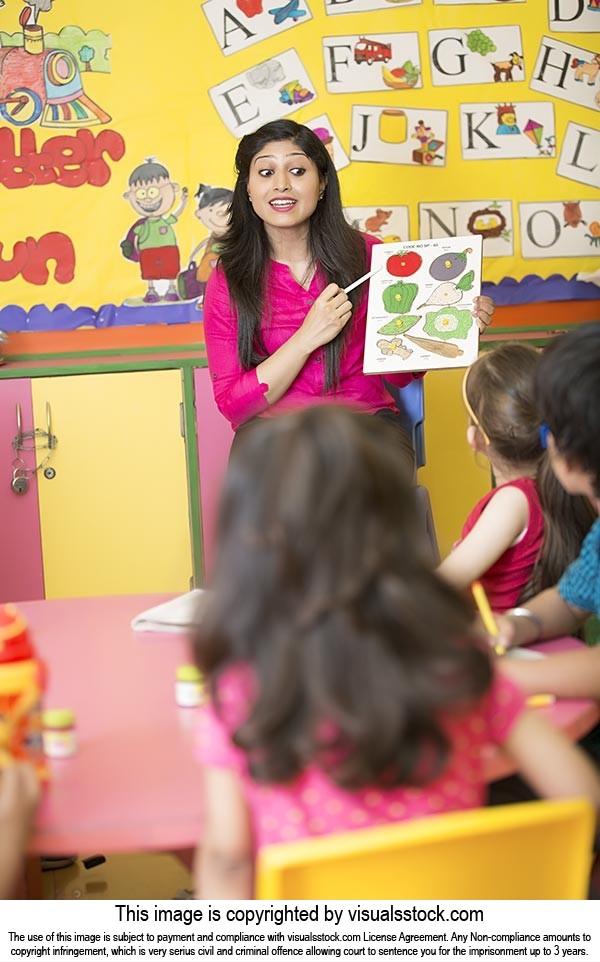 Teacher Teaching Playschool Kids Class Studying Ed