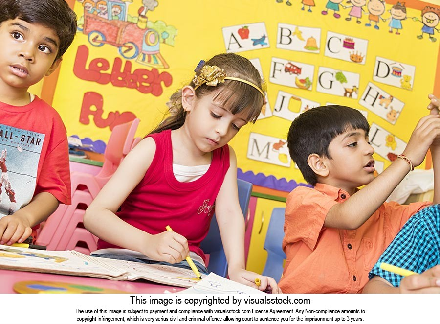 Playschool Children Classroom Drawing Painting Stu