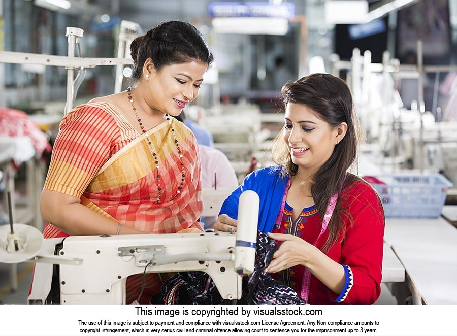Indian Women Worker Tailor Sewing Workshop Helping