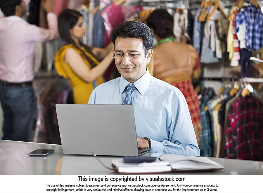1 Indian Businessman Manager Using laptop Working