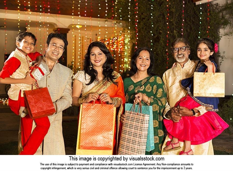 Joint Family Diwali Gift Shopping Bag Celebration