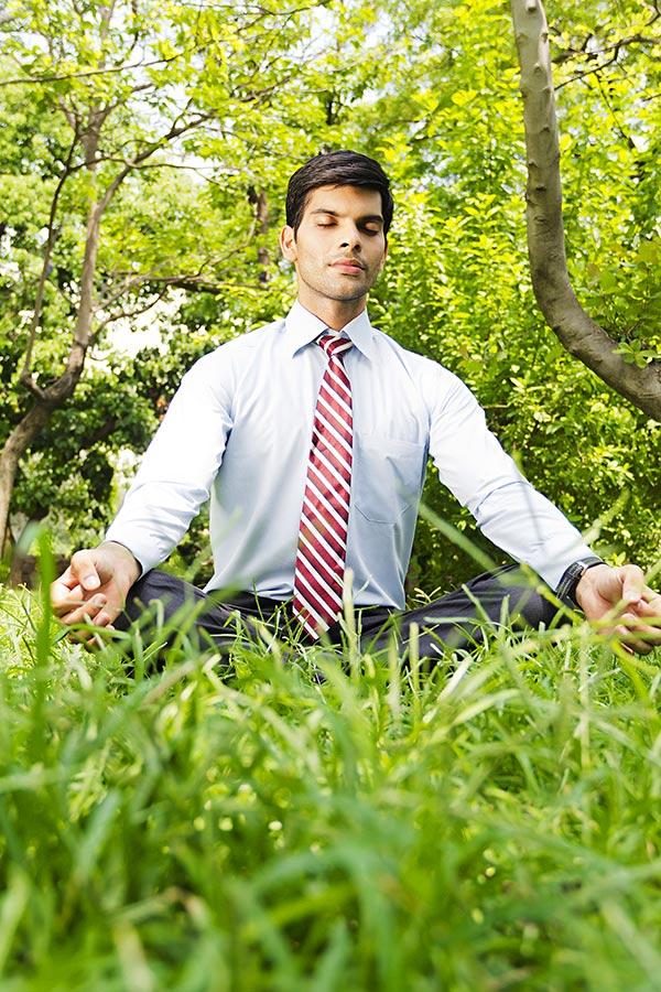 Businessman Sitting Park Yoga Padmasana