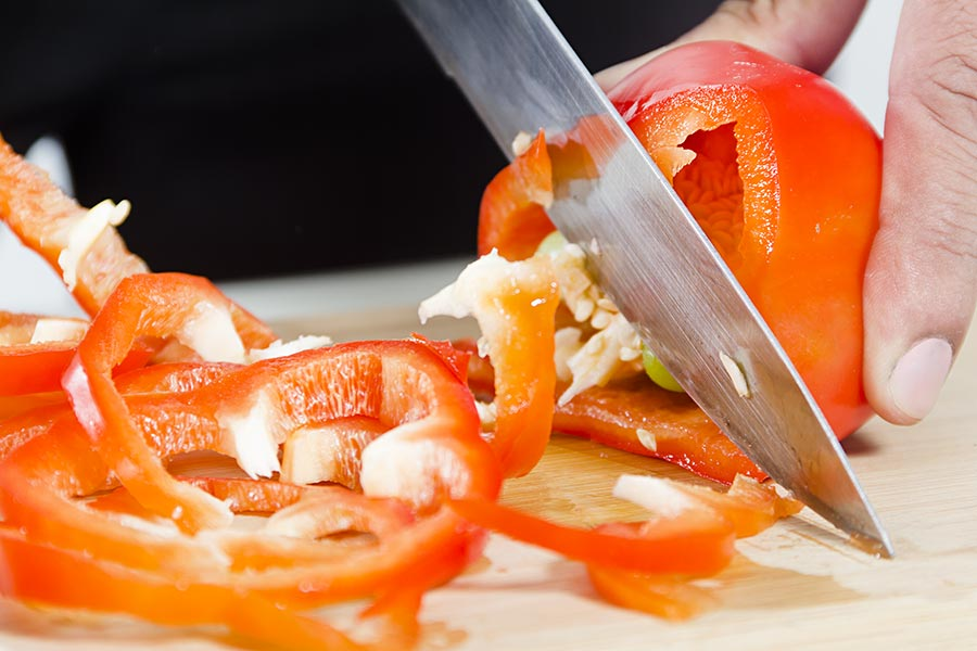 Close up Chef Chopping Vegetables