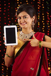 Diwali Woman Showing Tablet pc Quality