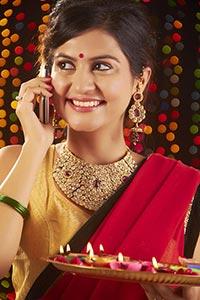 Woman Diwali Talking Mobile Phone Communication