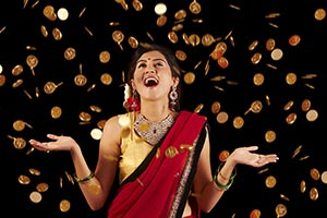 Woman Diwali Falling Gold Coin Money Lottery