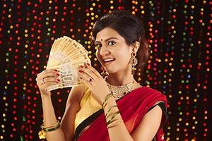 Woman Diwali Festival Showing Money