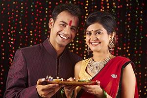 Indian Couple Diwali Festival Religion