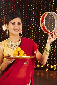 Ladies Celebrating Karva chauth Festival