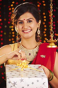Traditional Woman Housewife Opening Gift Box