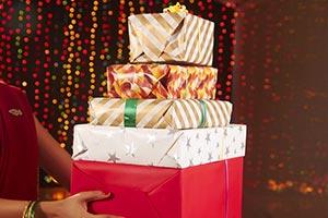 Woman Celebrating Diwali Gift Present