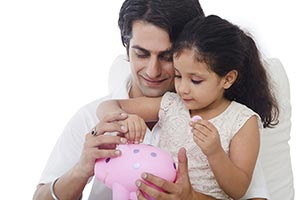 Family, finances and savings concept happy Father