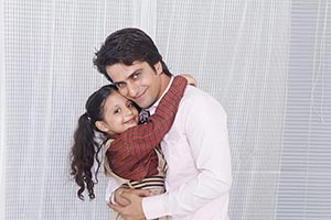 Happy Father And Kid daughter Student hugging and