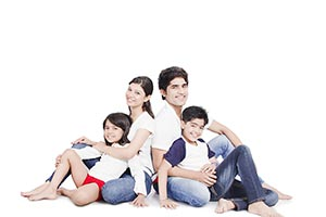 Indian Happy Family Sitting Floor Smiling