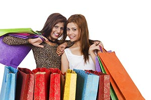 Indian Young Girls Holding Shopping Bags Buying sm