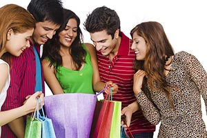 Teenagers Group Friends Opening bags Shopping Disc