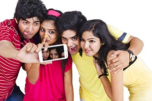 Young Boys and Girls Friends Taking Selfie Phone S