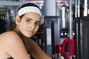 Sport Woman Fitness Exercising Gym Close-Up