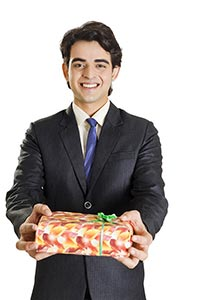 1 Indian Business Man Birthday Holding Gift Box Sm