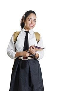 1 Indian School Girl Student Holding Book Educatio