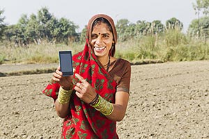 Indian Woman Farmer Farm Phone Quality Showing