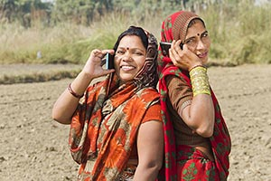 Rural Womans Farm Talking Cellphone
