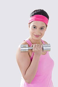 Fitness Woman Exercising Weightlifting Dumbell