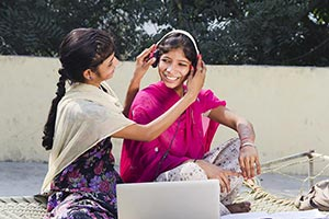 2 Rural Teenager Girls Stster Sitting On Charpai L