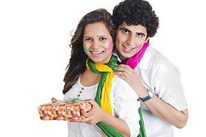 Happy Indian Couple Present Gift Holi Festival Cel