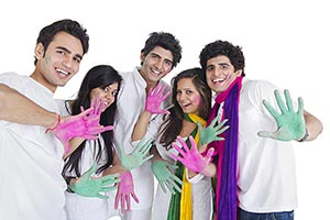 Happy Group Friends Palm Showing Colour s Holi Fes