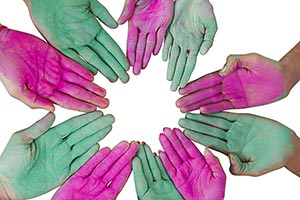 Indian Holi Festival Celebration Hands Palm Showin