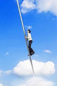 1 Indian Business man Climb Up Ladder Stairs Reach