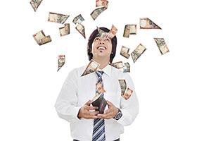 Happy Businessman Rupees Money Falling Wallet Lott