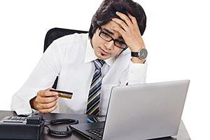 Sad Businessman Sitting Office Credit Card Bill Pa