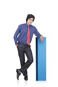 Indian Business Man Standing Block Leaning