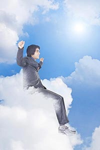 Businessman Sitting Cloud Low Angle View Victory S