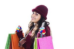 Young Woman Winter Clothes Debit Card Shopping Bag