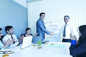 Business People Meeting Boardroom Handshake