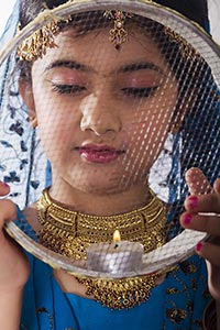 Indian Little Girl Strainer Karva Chauth Praying