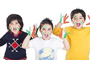 Indian Children Face Hands Paints Patriotism Celeb