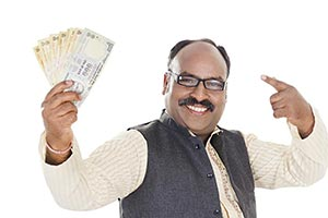 1 Indian Man Holding Rupees Money Lottery Finger P