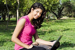 Indian Young Woman Sitting Park Using Laptop Smili