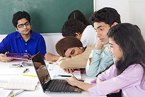 Group Teenage Students Studying Together College