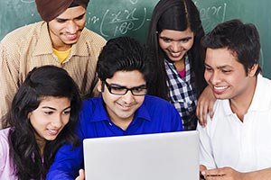 Friends Students Using Laptop College