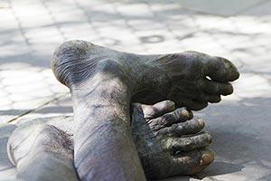 Dirty Feets Hawker Part-of Slum Man